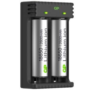 Gp li-ion oplader inkl. 2 x 18650 li-ion 2600 mah batterier fra gp lighting på lommelygtesalg.dk